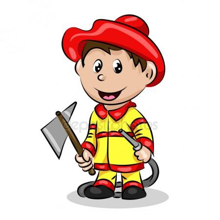 450x450 Cartoon Funny Fire Fighter With Ax And Hose In Uniform Stock