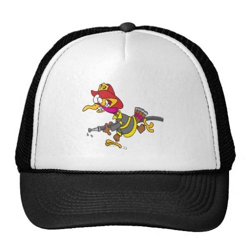 500x500 Funny Firefighter Turkey Cartoon Trucker Hat Broker