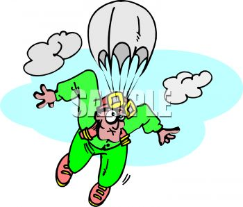 350x298 Clip Art Illustration Of A Man Skydiving. He Has A Funny Look