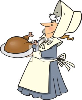 289x350 Royalty Free Clipart Image Cartoon Of A Funny Pilgrim Woman
