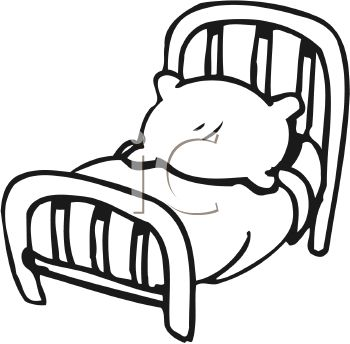 350x344 Black And White Cartoon Bed