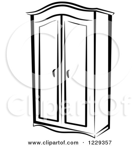 450x470 Clipart Of A Black And White Wardrobe Closet