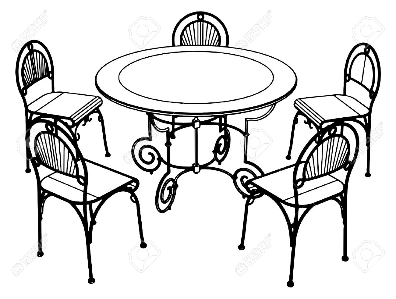 1300x981 Furniture Clipart Dinner Table