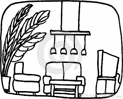 400x324 Living Room Clipart Black And White