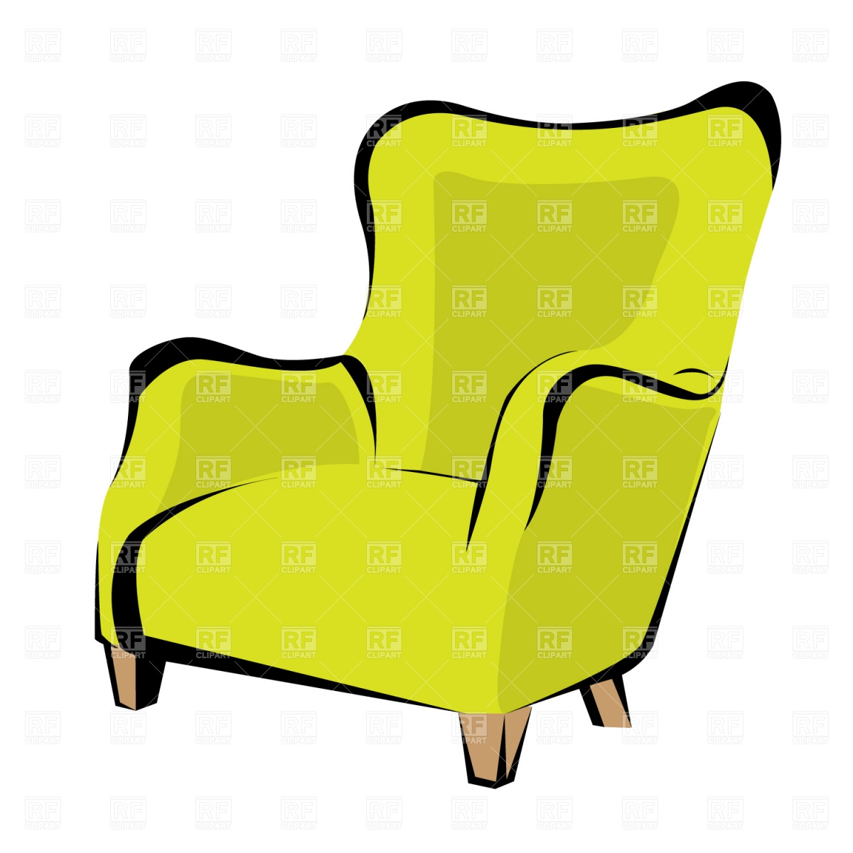 1200x1200 Retro Armchair Royalty Free Vector Clip Art Image