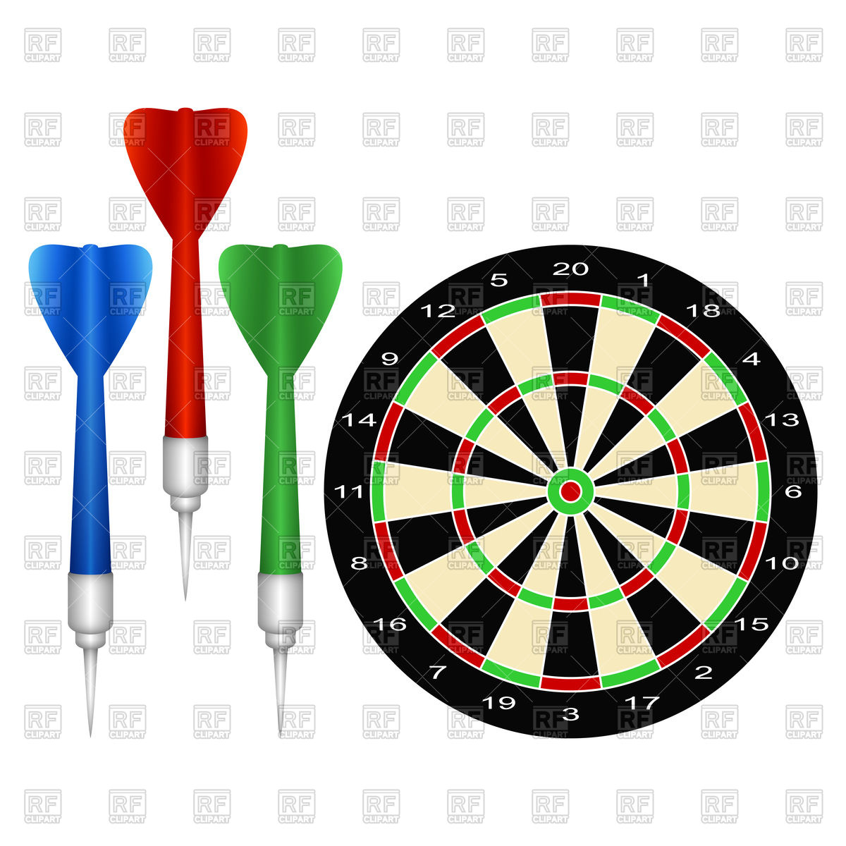 1200x1200 Accessories For The Game Of Darts Royalty Free Vector Clip Art