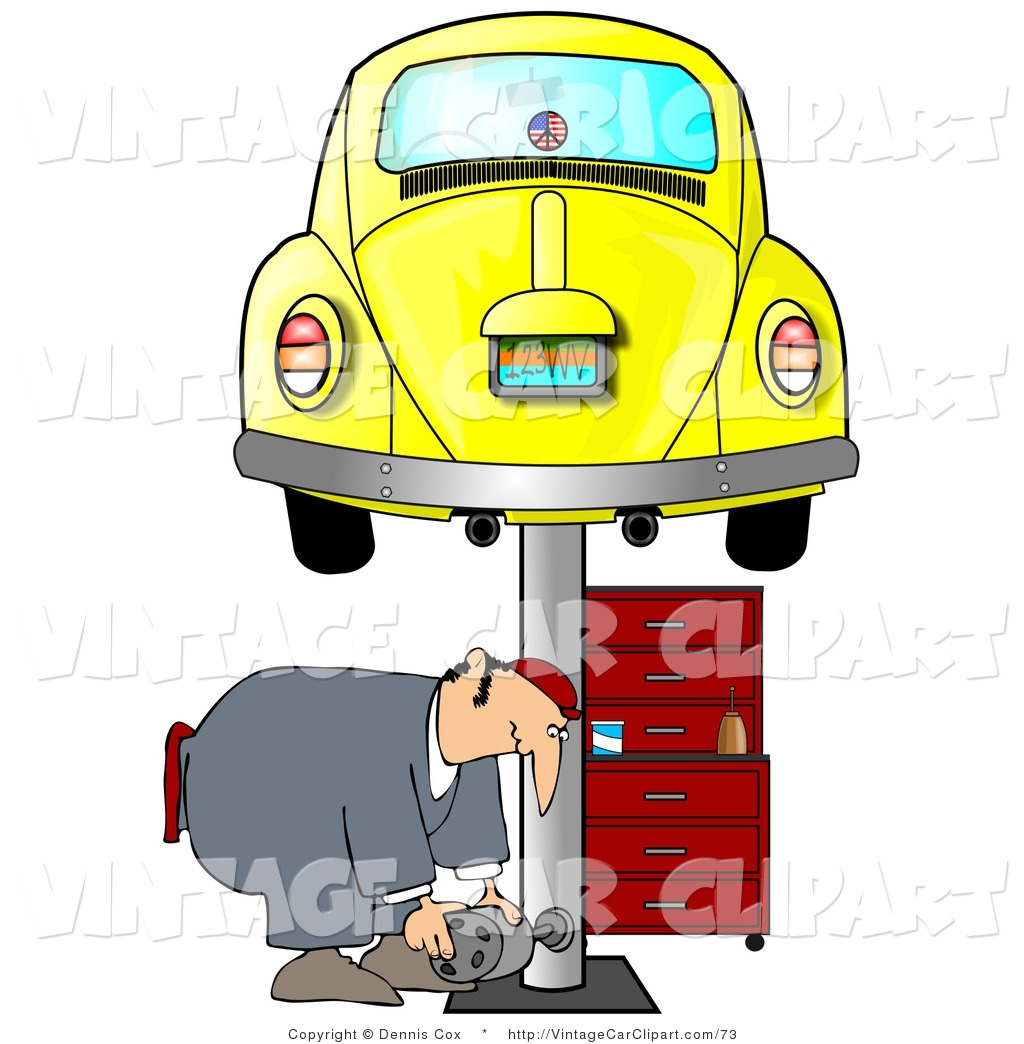 1024x1044 Clipart Of A Male Mechanic Bending Over To Pick Up A Part While