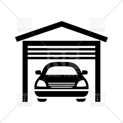 400x400 Garage Black Icon Isolated On White Background Royalty Free Vector