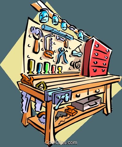 398x480 Garage Workbench Royalty Free Vector Clip Art Illustration