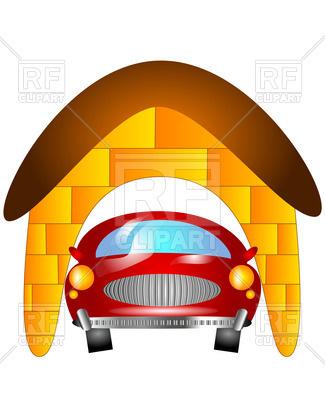 325x400 Car In Garage Royalty Free Vector Clip Art Image