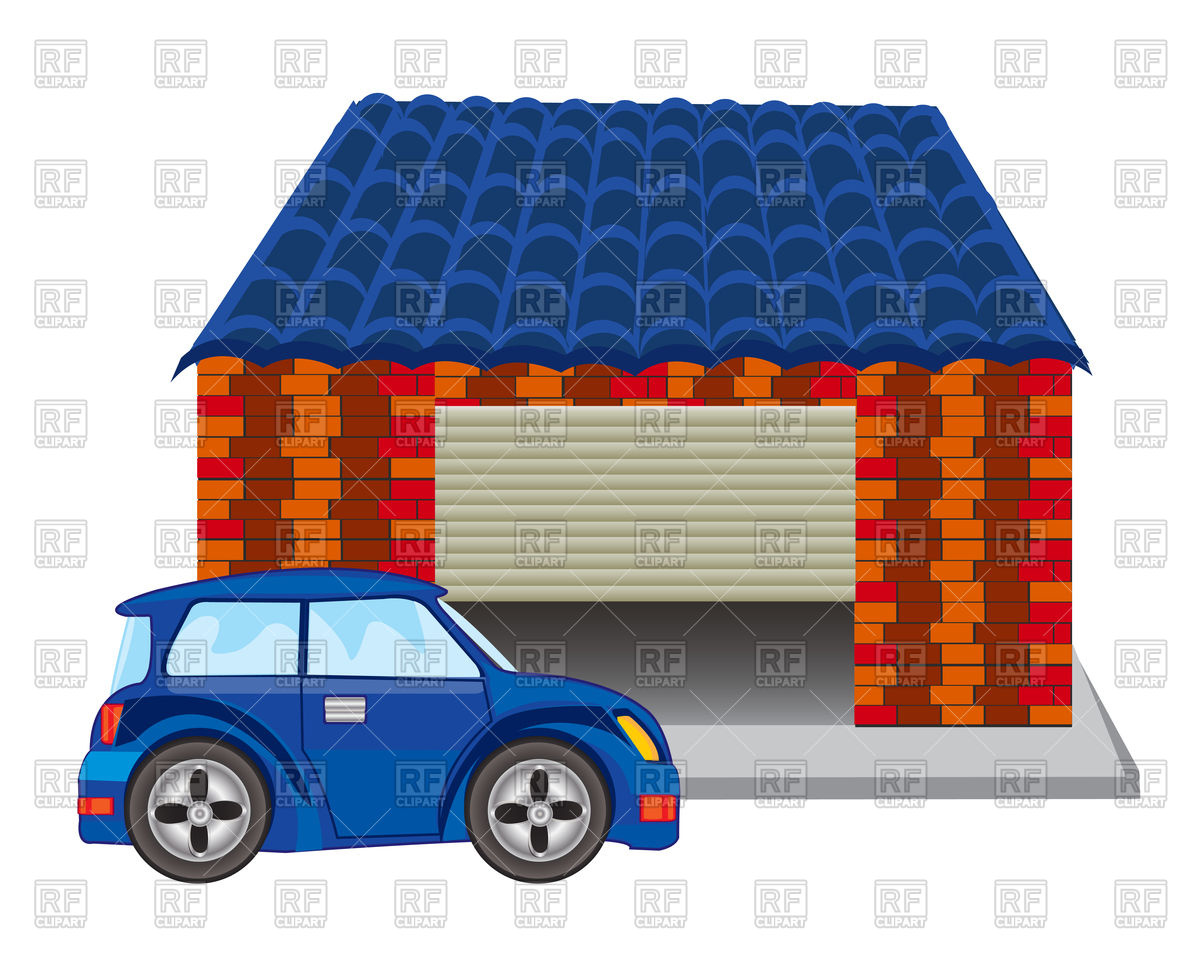 1200x960 Car Near Garage From Brick Royalty Free Vector Clip Art Image