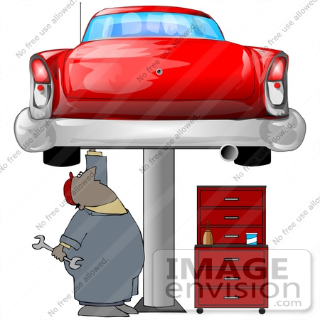 450x450 Clipart Illustration Of An African American Male Auto Mechanic