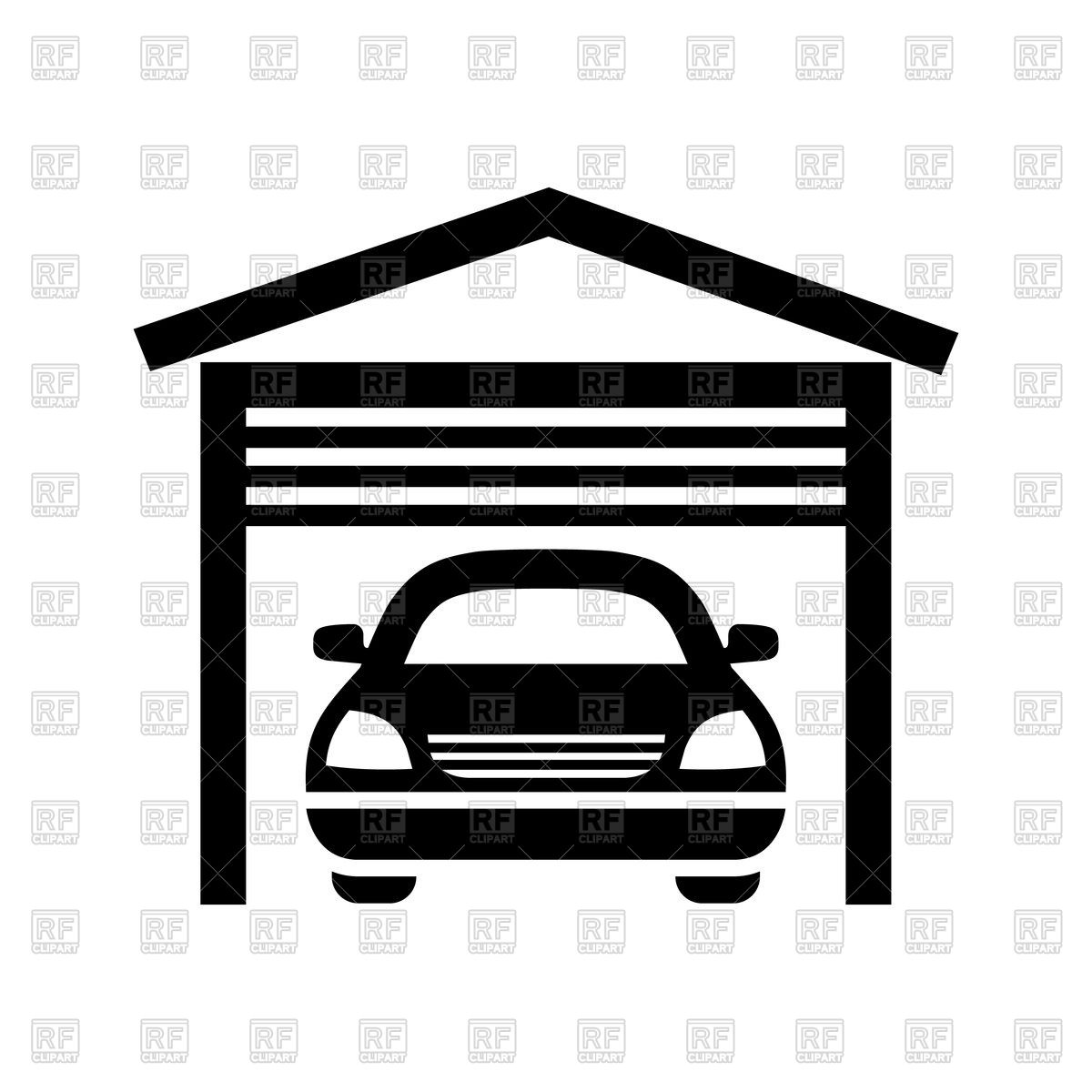 1200x1200 Garage Black Icon Isolated On White Background Royalty Free Vector