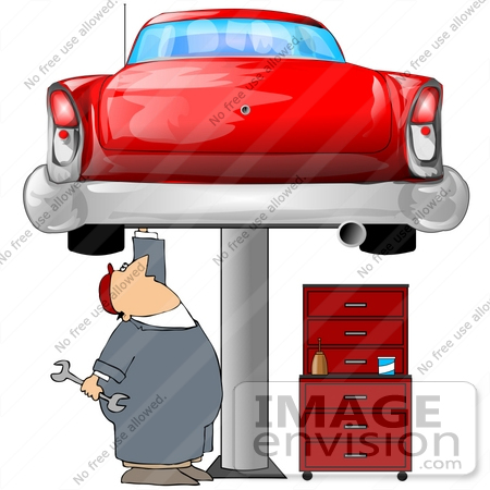 450x450 Clip Art Graphic Of A Caucasian Male Auto Mechanic Under A Red