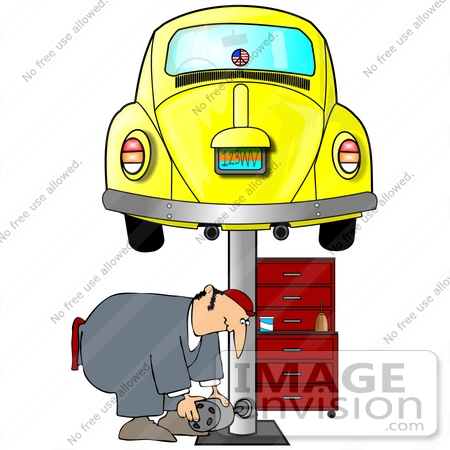 450x450 Clip Art Graphic Of A Mechanic Working Under A Yellow Slug Bug Vw