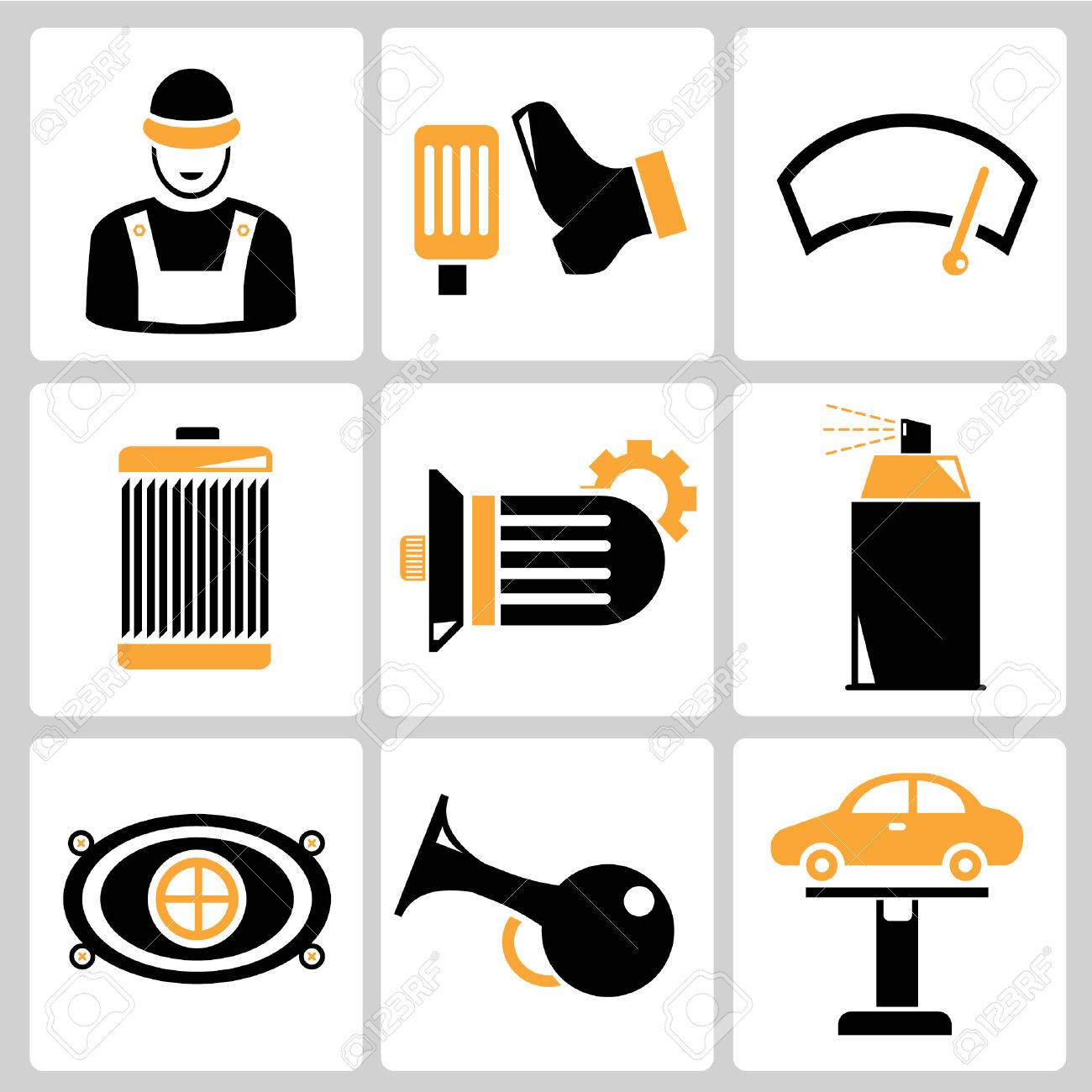 1300x1300 Garage Icons, Auto Service Icons, Car Parts Royalty Free Cliparts