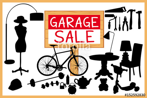 500x334 Garage Sale Illustration. Wood Sign Panel And Homerelated Items