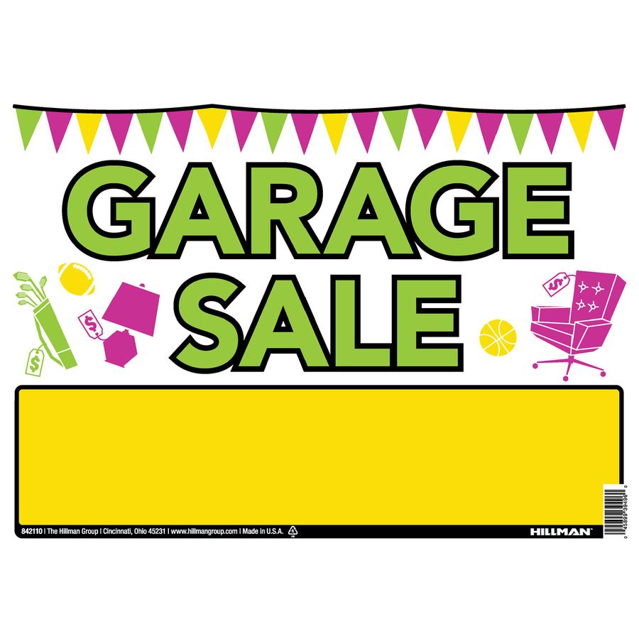 900x900 Shop Hillman Sign Center 10 In X 14 In Garage Sale Sign