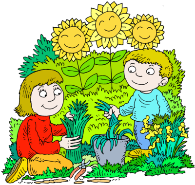 400x380 Image Mother And Son In A Happy Gardening Picture