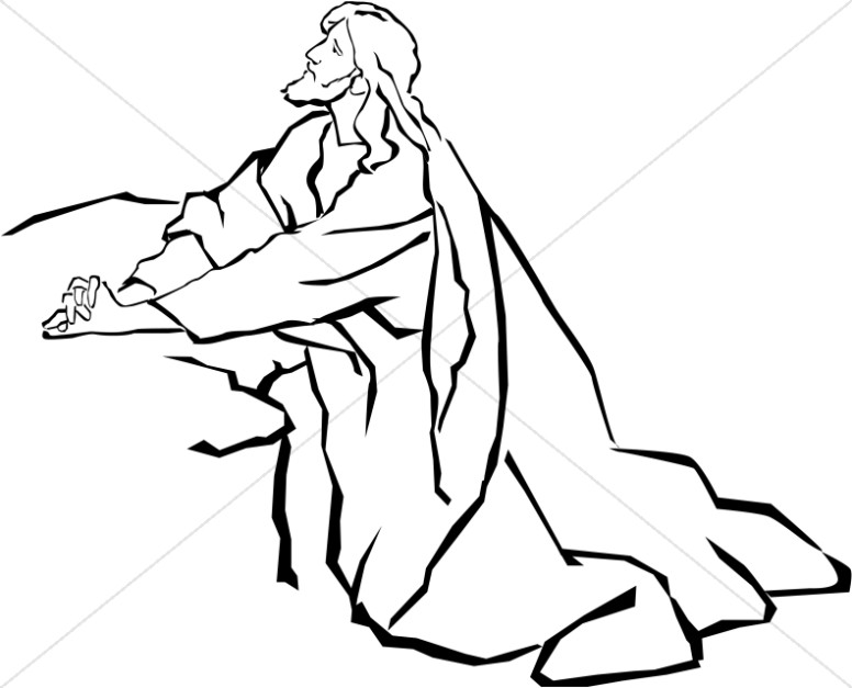 776x627 Jesus In The Garden Of Gethsemane In Black And White Jesus Clipart