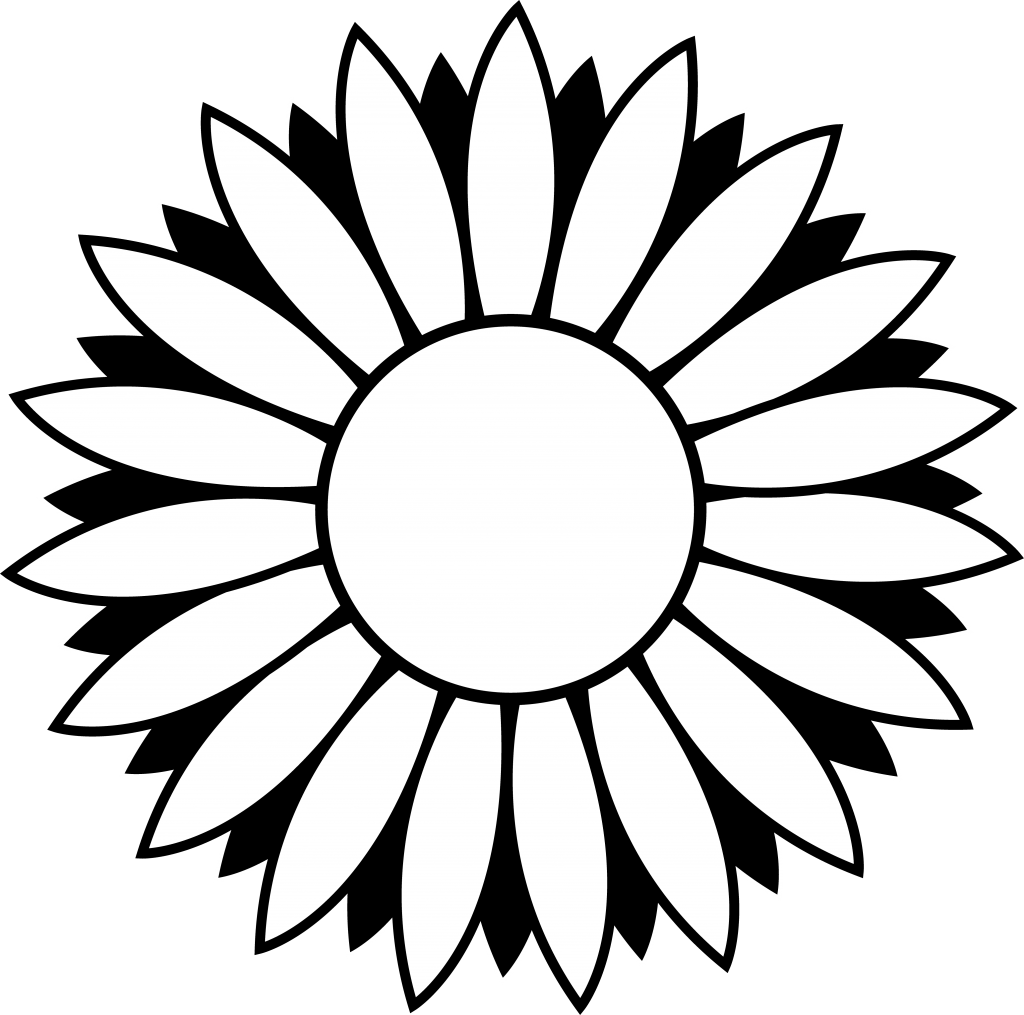 1024x1015 Sunflower Black And White Black And White Sunflower Clipart