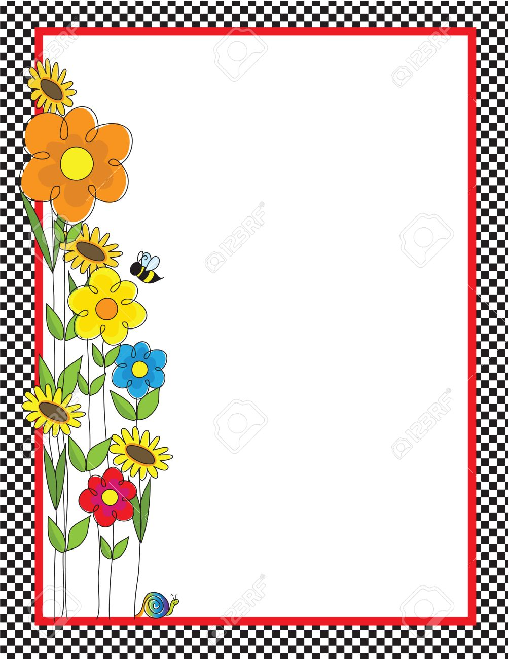 1004x1300 A Black And White Checkered Border Featuring A Spring Garden