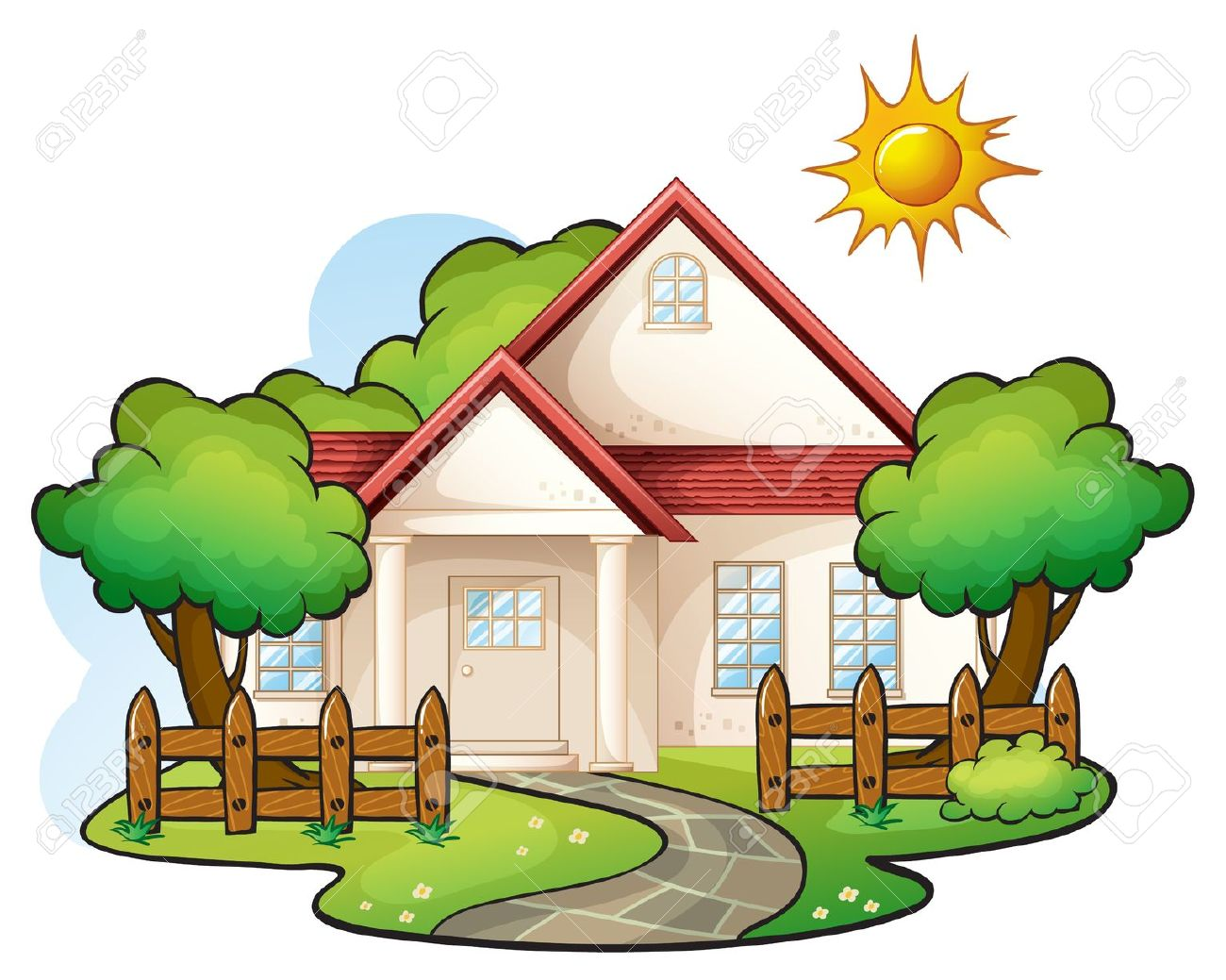 1300x1039 House With Garden Clipart