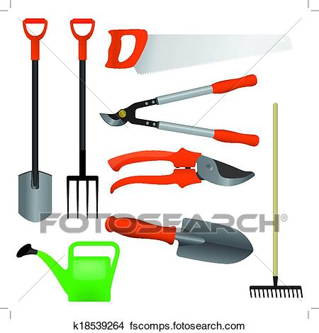 450x470 Clipart Of Collection Of Gardening Tools, Vector K18539264