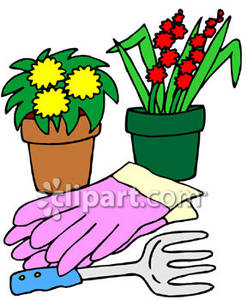247x300 Gloves With Flower Pots And Gardening Tools Royalty Free Clipart