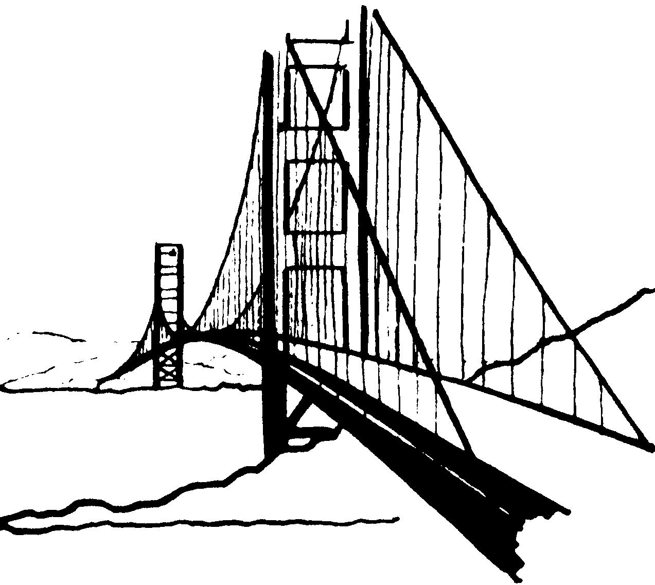 1273x1137 Black Amp White Clipart Bridge