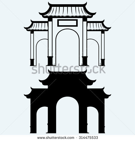 450x470 China Town Clipart Black And White