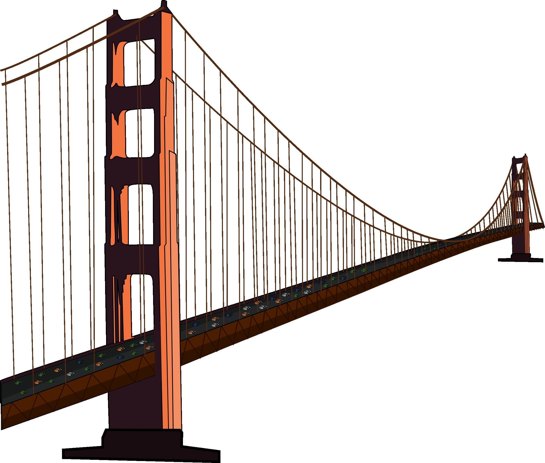 2225x1893 Golden Gate Bridge Black And White Clip Art