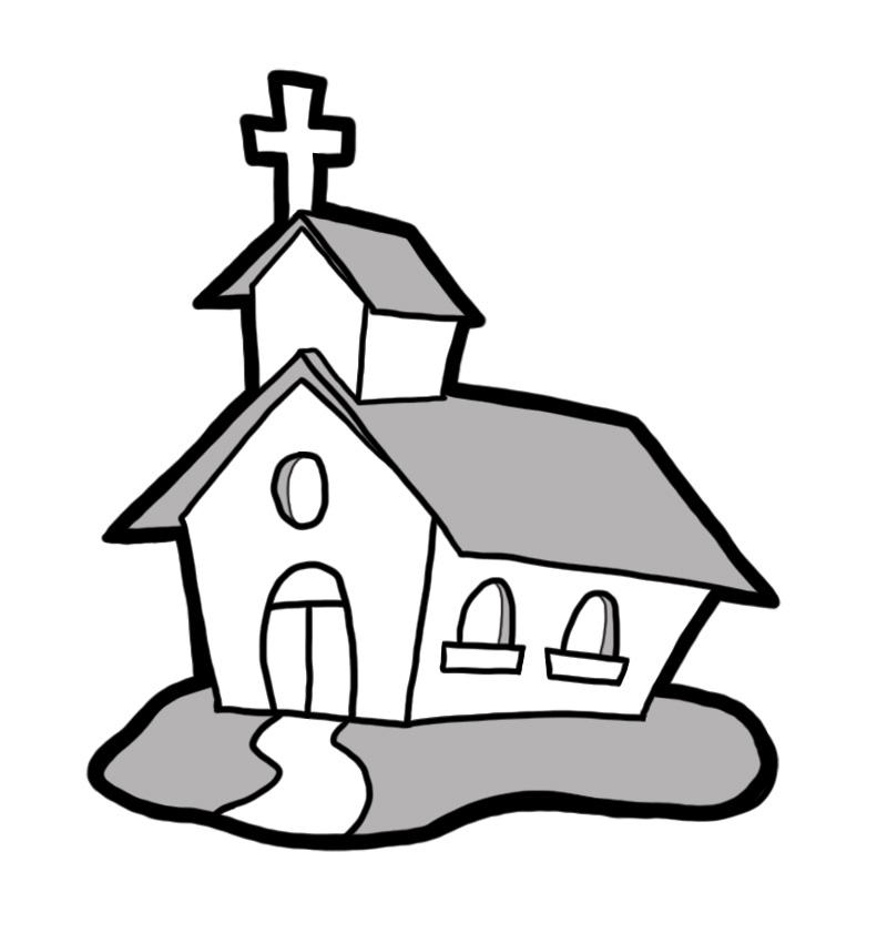 800x850 Black And White Church Clipart