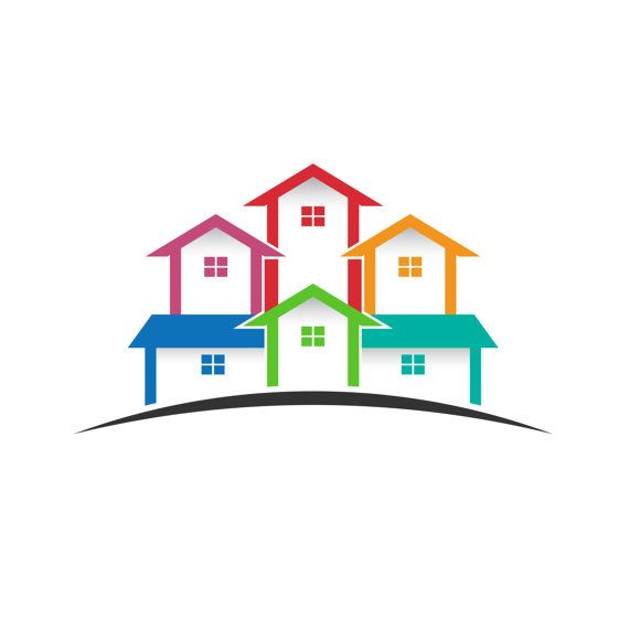 570x570 Real Estate Logo, Colored Houses Clip Art. Concept For A Real