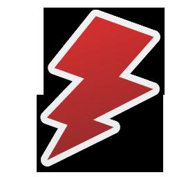 256x256 Red Lightning Bolt Symbol