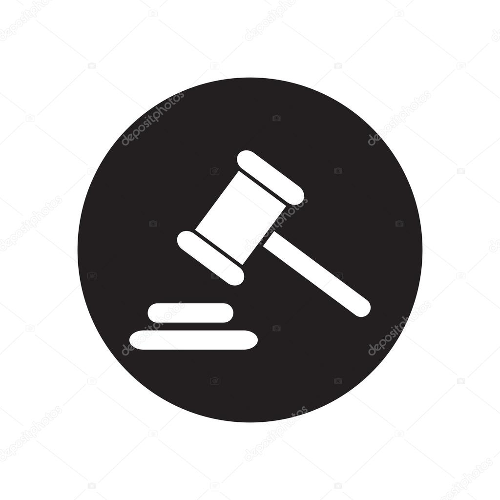 1024x1024 Black And White Hammer Judge Icon. Gavel Law Legal Hammer. Classic