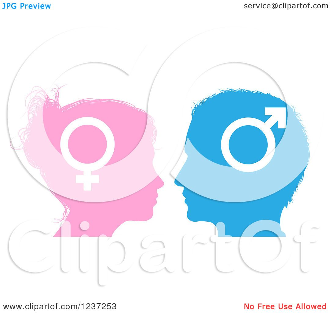 1080x1024 Clipart Of Male And Female Sex Gender Symbol Faces In Profile