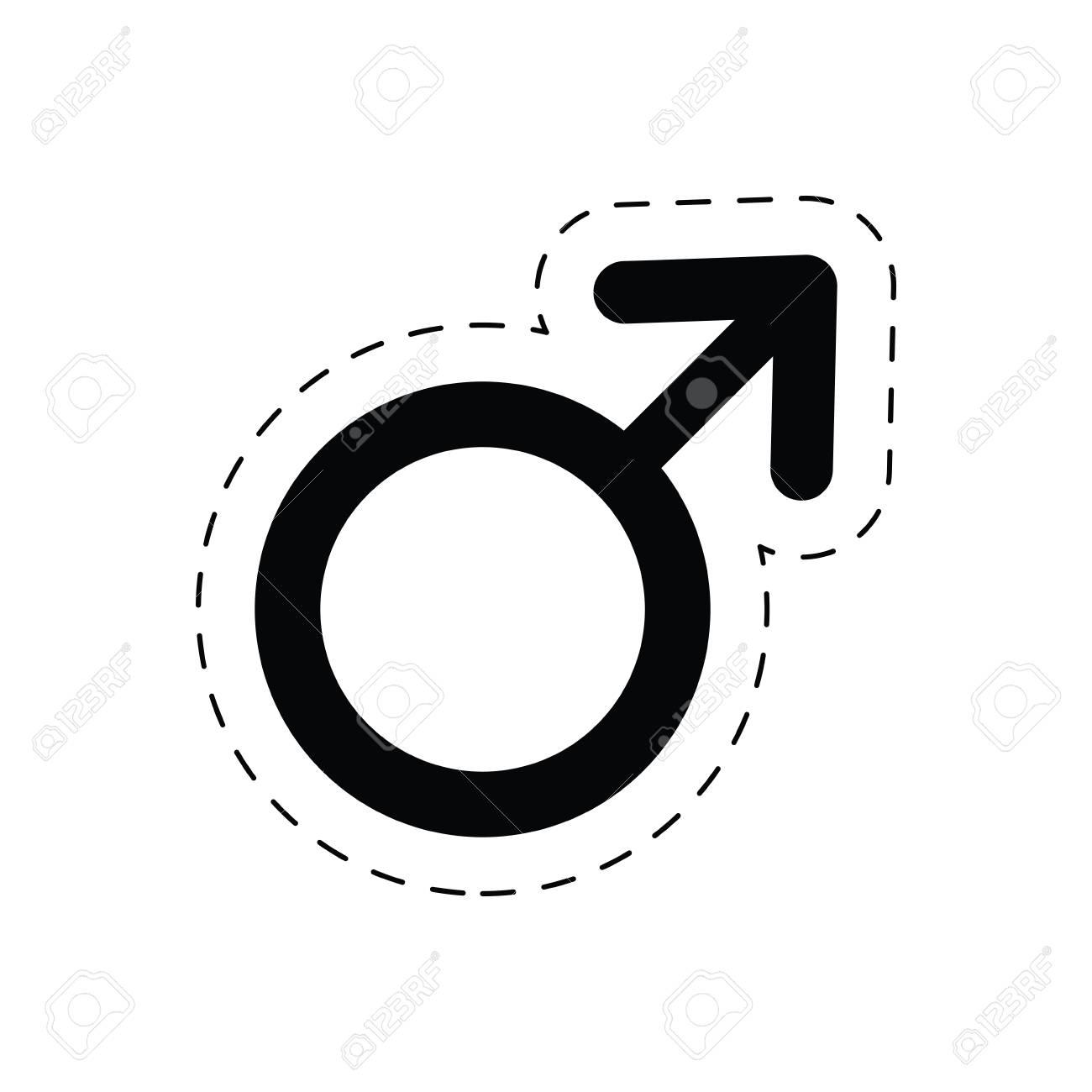 1300x1300 Male Gender Symbol Sex Pictogram Cut Line Vector Illustration