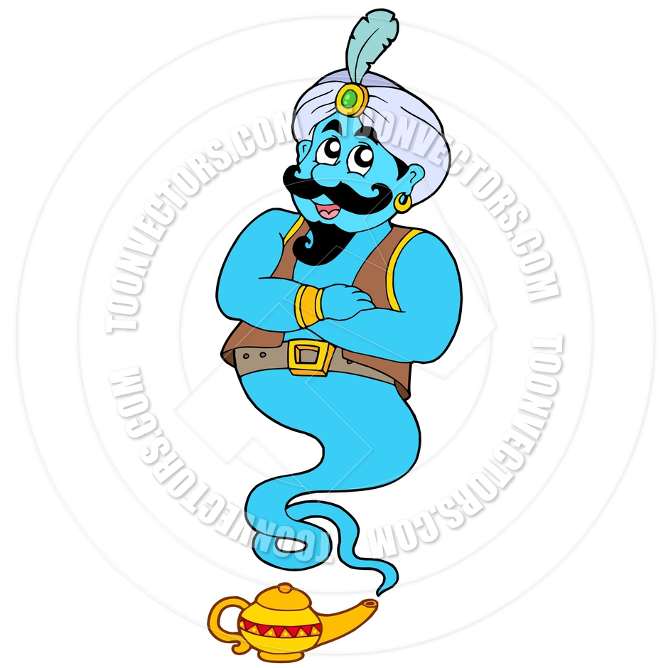 940x940 Cartoon Genie From Lamp By Clairev Toon Vectors EPS