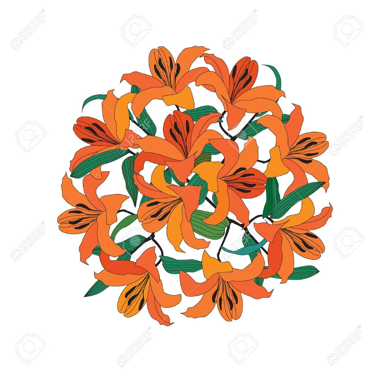 1300x1300 Flower Circle Bouquet From Gentle Red Lily Royalty Free Cliparts