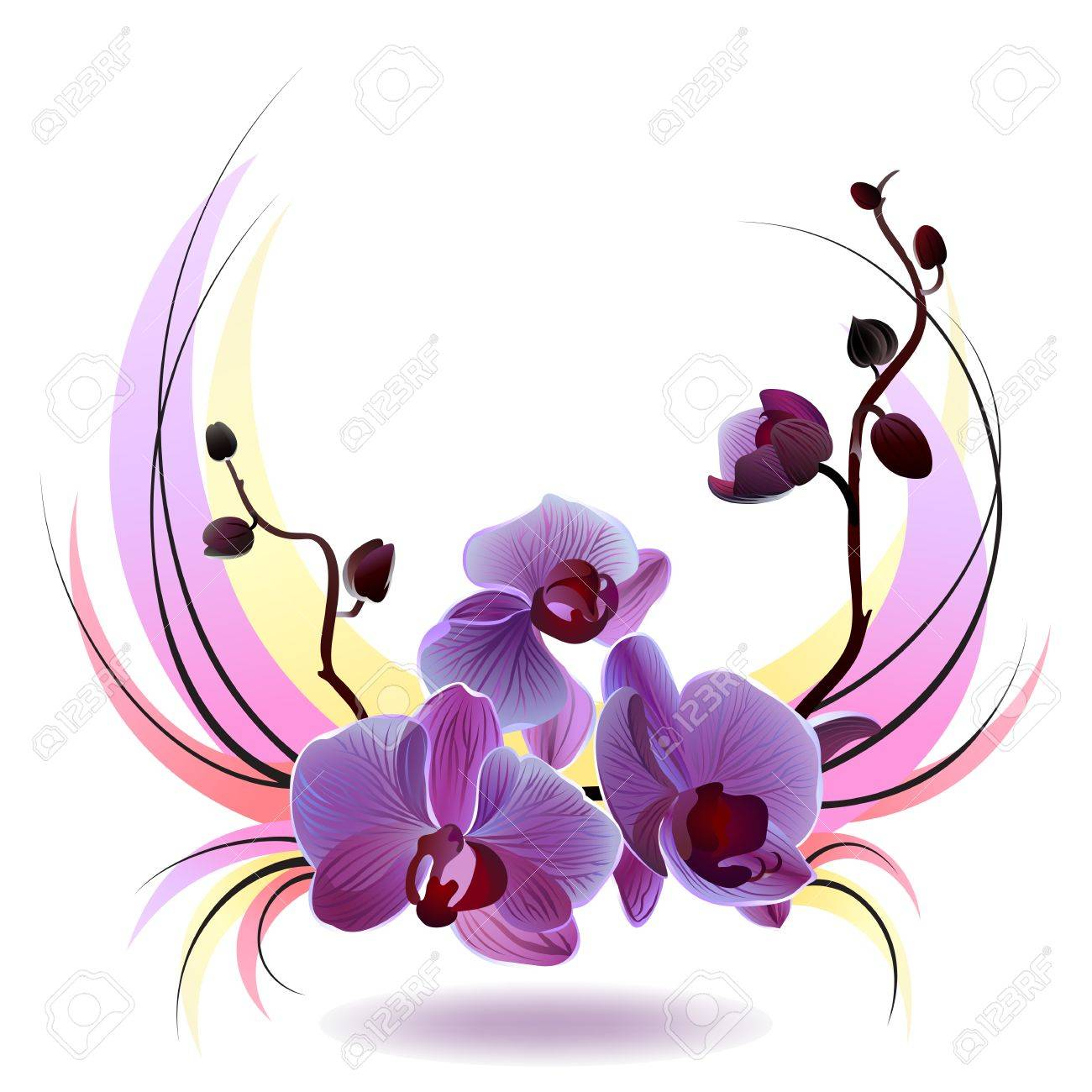 1300x1300 Vector Greeting Card With Violet Gentle Orchid Bouquet On
