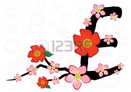 450x318 Alphabet With Gentle Sakura Flowers. Letter E Royalty Free
