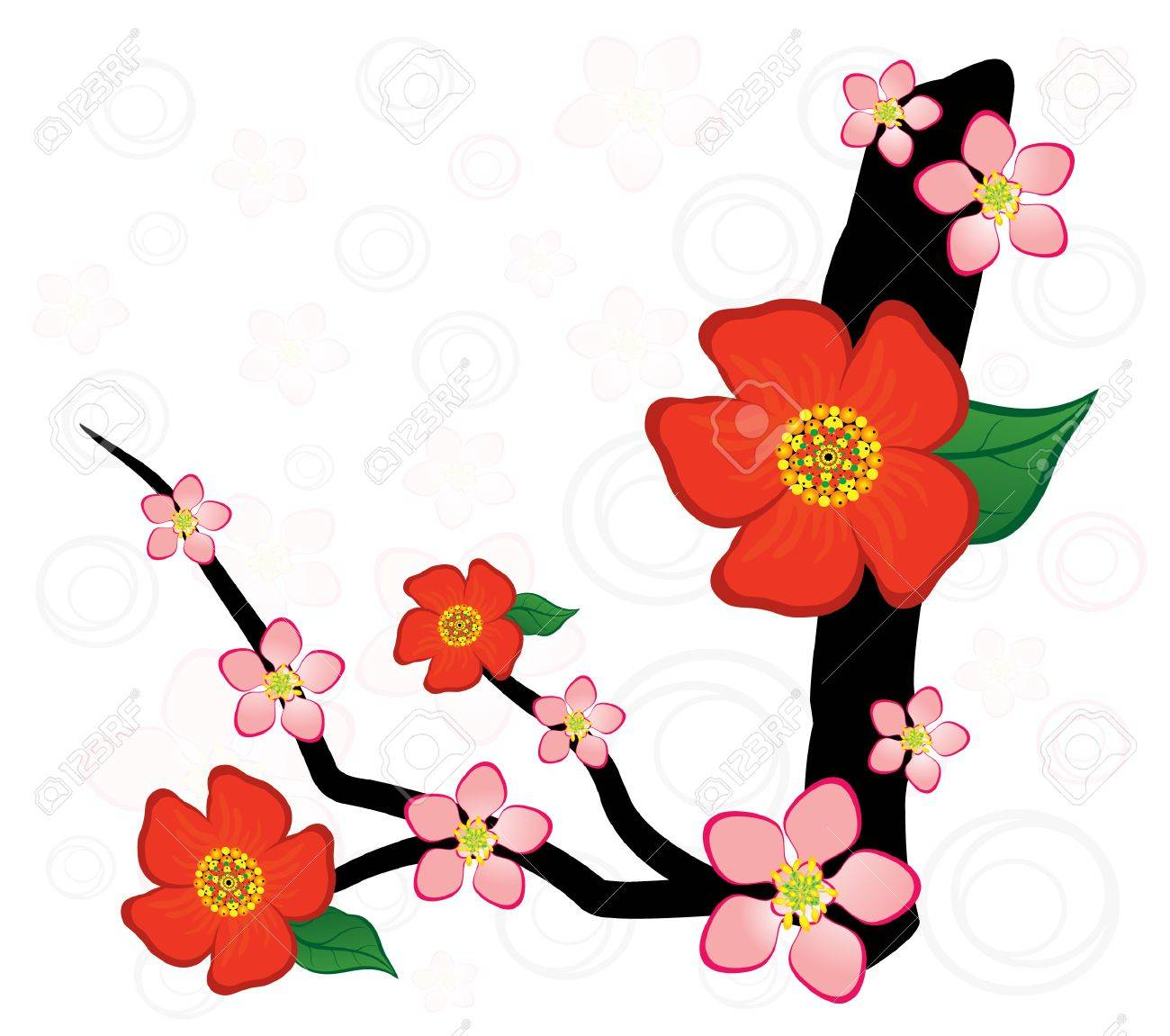 1300x1151 Alphabet With Gentle Sakura Flowers. Letter I Royalty Free