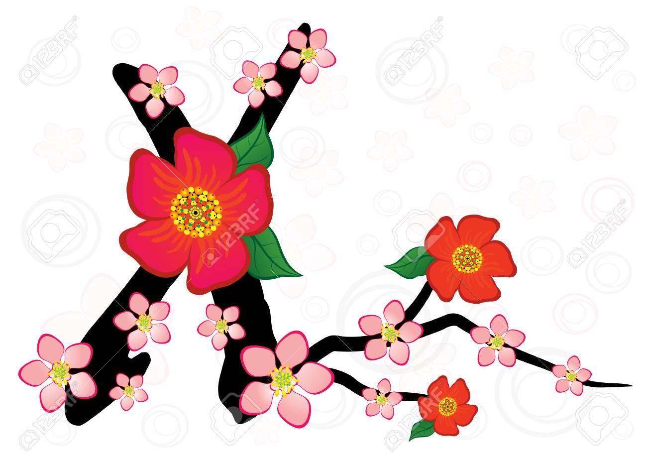 1300x918 Alphabet With Gentle Sakura Flowers. Letter X Royalty Free