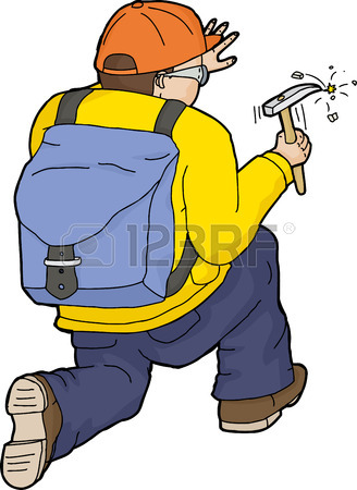 328x450 Outline Cartoon Of Geologist Working With Rock Hammer Royalty Free