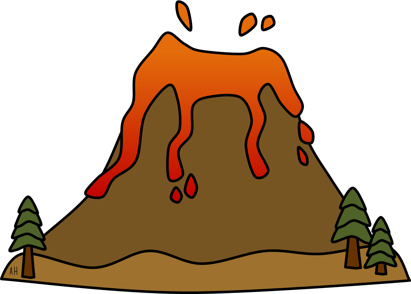 1442x1032 Volcano Clip Art