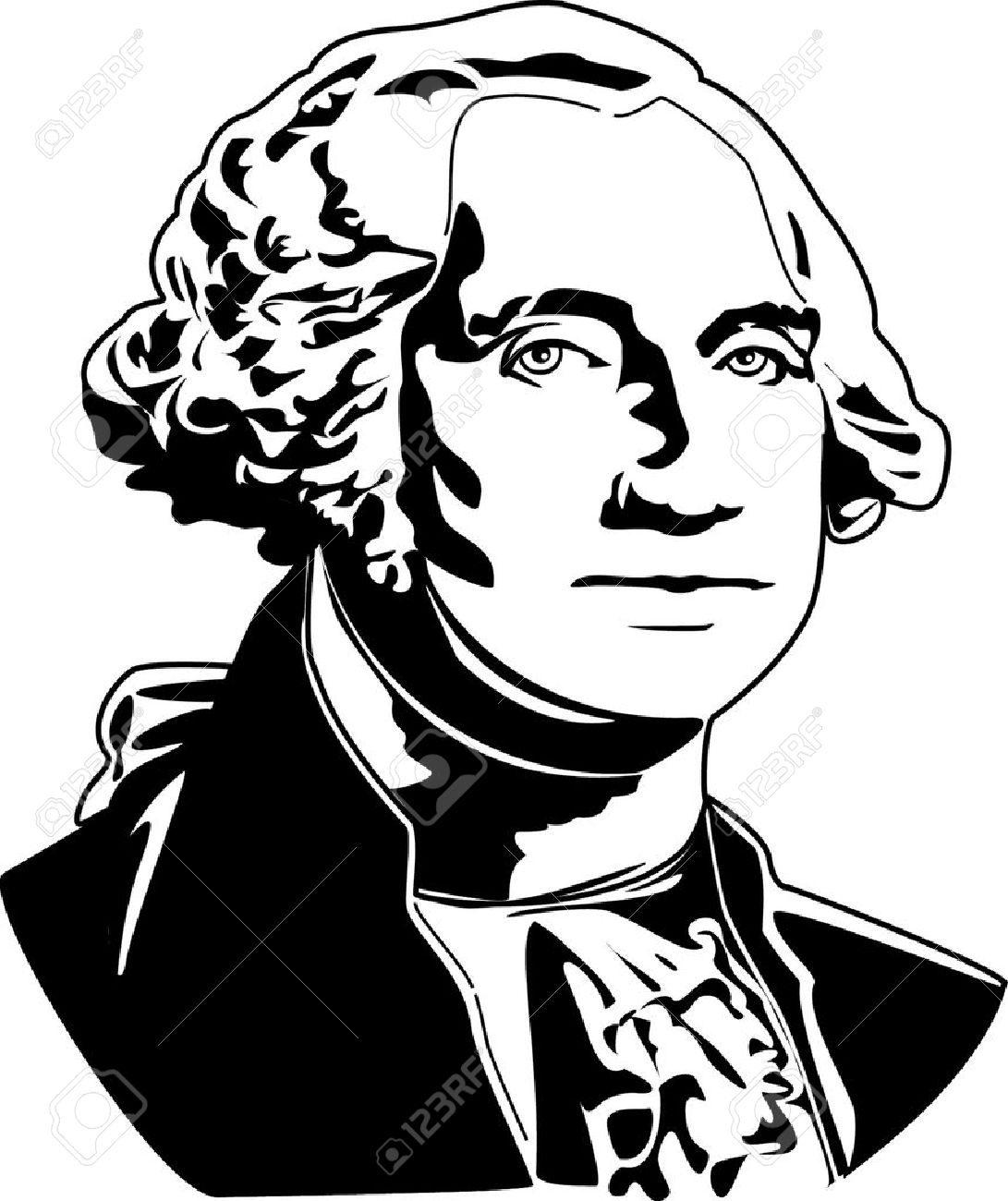 1091x1300 Black And White Vector Illustration Of George Washington Royalty
