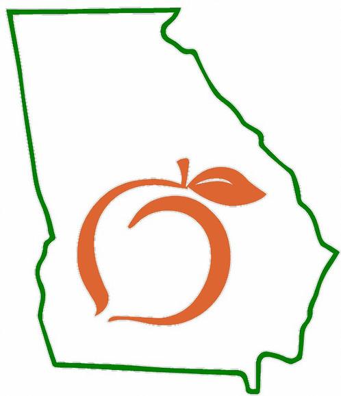 498x578 Georgia State Outline Georgia Peach Decal Sticker Cornhole Board