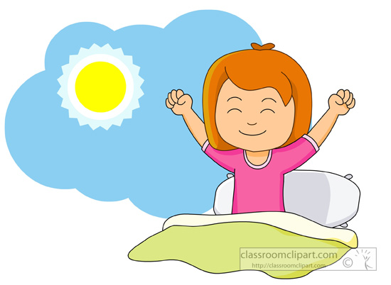 550x402 Girl Getting Out Of Bed Clipart