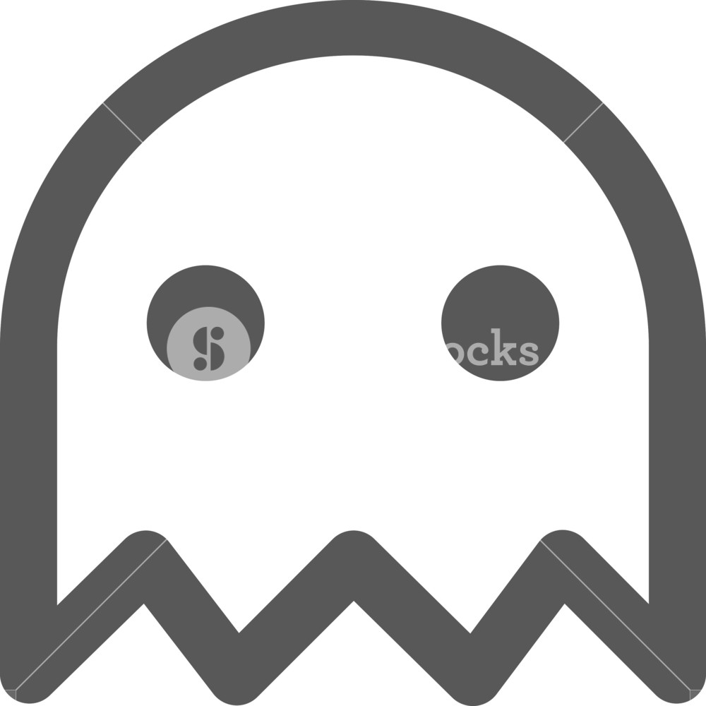 1000x1000 Pac Man Ghost Stroke Icon Royalty Free Stock Image